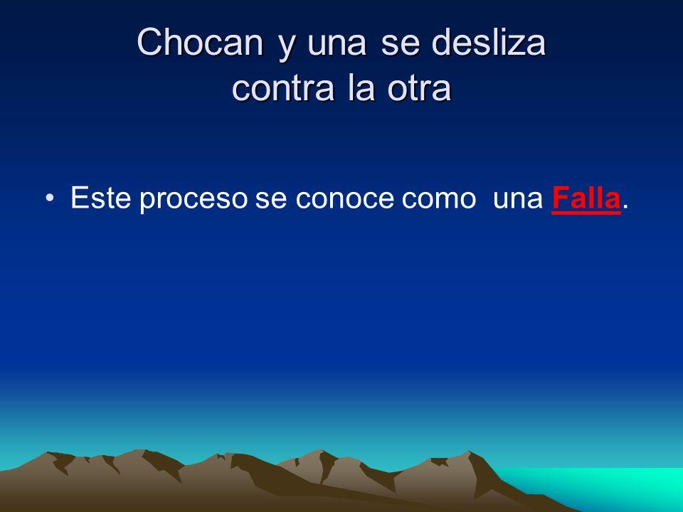 Chocan y una se desliza contra la otra Este proceso se conoce como una Falla.