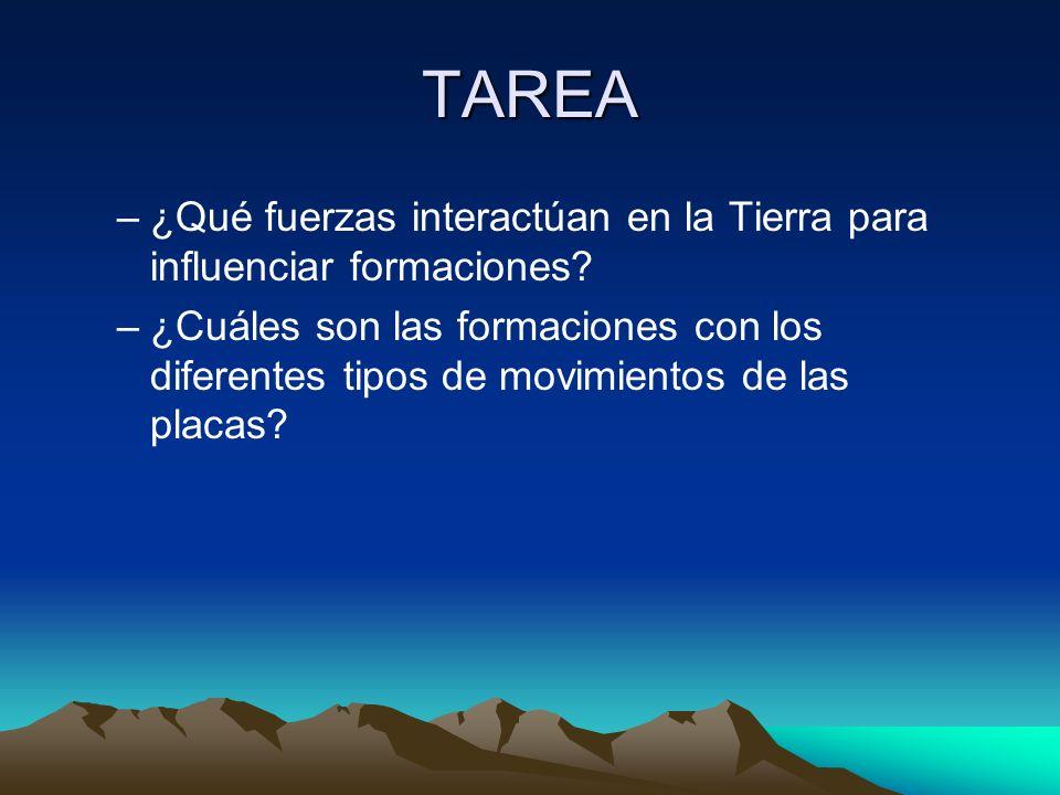 TAREA –¿Qué fuerzas interactúan en la Tierra para influenciar formaciones? –¿Cuáles son las formaciones con los diferentes tipos de movimientos de las