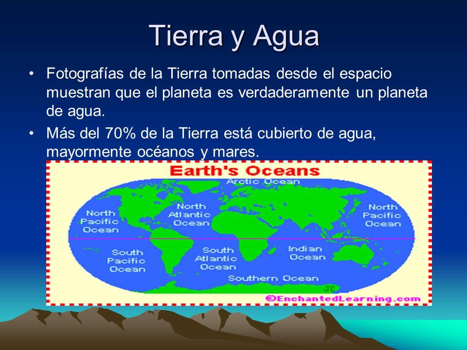 Tierra y Agua Fotografías de la Tierra tomadas desde el espacio muestran que el planeta es verdaderamente un planeta de agua. Más del 70% de la Tierra