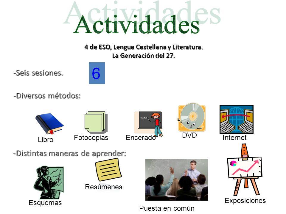 4 de ESO, Lengua Castellana y Literatura. La Generación del 27. -Seis sesiones. -Diversos métodos: -Distintas maneras de aprender: Libro Encerado DVD