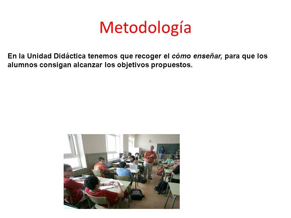 Metodología En la Unidad Didáctica tenemos que recoger el cómo enseñar, para que los alumnos consigan alcanzar los objetivos propuestos.