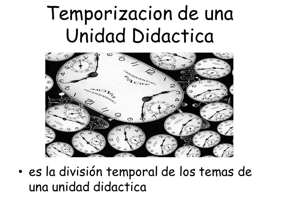 Temporizacion de una Unidad Didactica es la división temporal de los temas de una unidad didactica Que es?