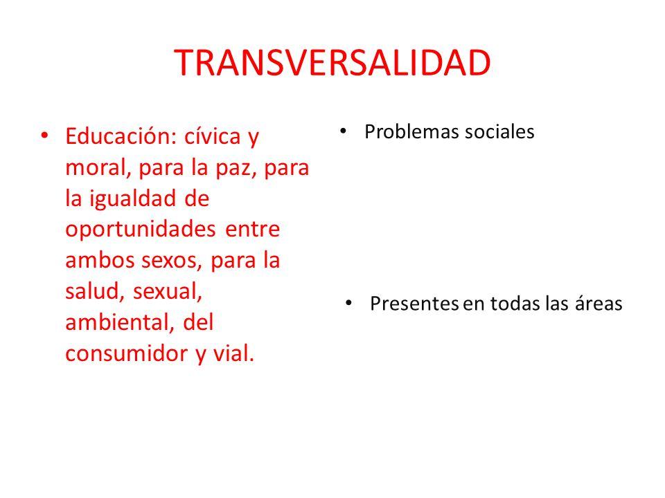 TRANSVERSALIDAD Educación: cívica y moral, para la paz, para la igualdad de oportunidades entre ambos sexos, para la salud, sexual, ambiental, del con