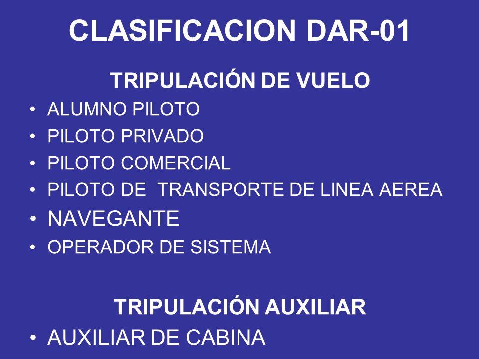 CLASIFICACION DAR-01 TRIPULACIÓN DE VUELO ALUMNO PILOTO PILOTO PRIVADO PILOTO COMERCIAL PILOTO DE TRANSPORTE DE LINEA AEREA NAVEGANTE OPERADOR DE SIST