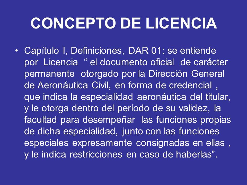 CONCEPTO DE LICENCIA Capítulo I, Definiciones, DAR 01: se entiende por Licencia el documento oficial de carácter permanente otorgado por la Dirección