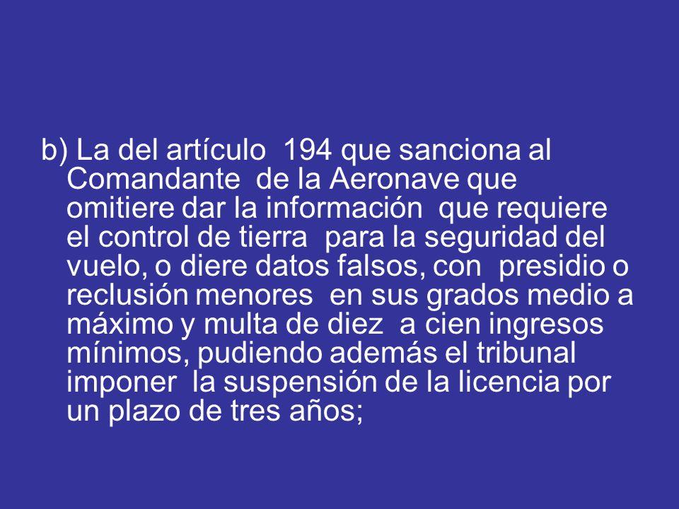 b) La del artículo 194 que sanciona al Comandante de la Aeronave que omitiere dar la información que requiere el control de tierra para la seguridad d