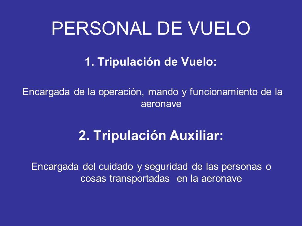 PERSONAL DE VUELO 1. Tripulación de Vuelo: Encargada de la operación, mando y funcionamiento de la aeronave 2. Tripulación Auxiliar: Encargada del cui
