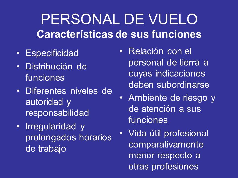 PERSONAL DE VUELO Características de sus funciones Especificidad Distribución de funciones Diferentes niveles de autoridad y responsabilidad Irregular