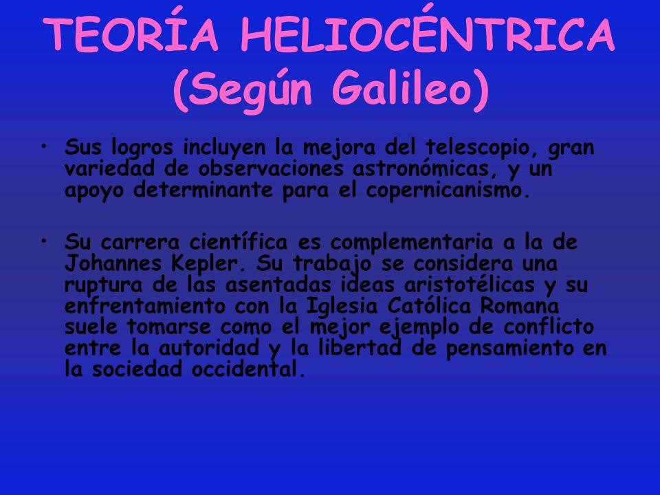 TEORÍA HELIOCÉNTRICA (Según Galileo) Sus logros incluyen la mejora del telescopio, gran variedad de observaciones astronómicas, y un apoyo determinant