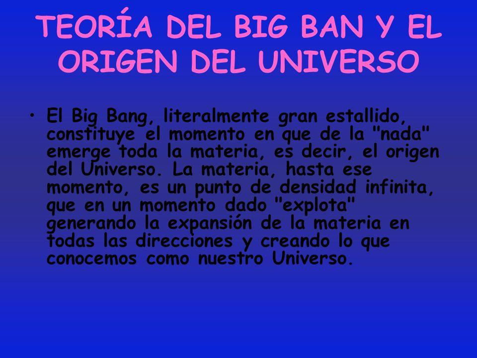 TEORÍA DEL BIG BAN Y EL ORIGEN DEL UNIVERSO El Big Bang, literalmente gran estallido, constituye el momento en que de la