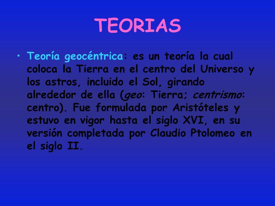 TEORIAS Teoría geocéntrica: es un teoría la cual coloca la Tierra en el centro del Universo y los astros, incluido el Sol, girando alrededor de ella (