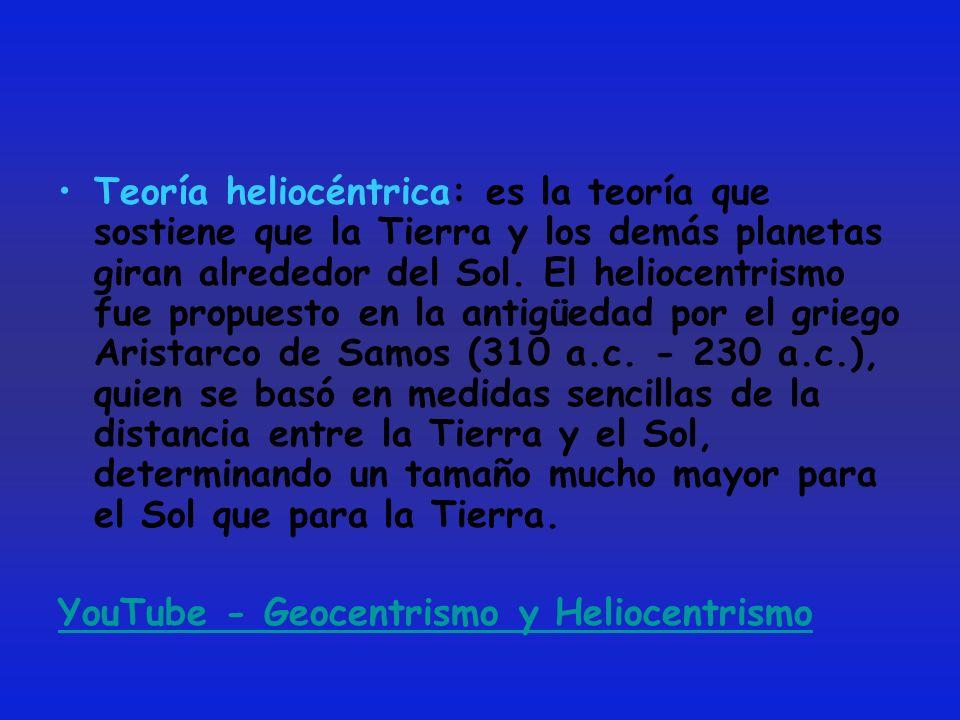 Teoría heliocéntrica: es la teoría que sostiene que la Tierra y los demás planetas giran alrededor del Sol. El heliocentrismo fue propuesto en la anti