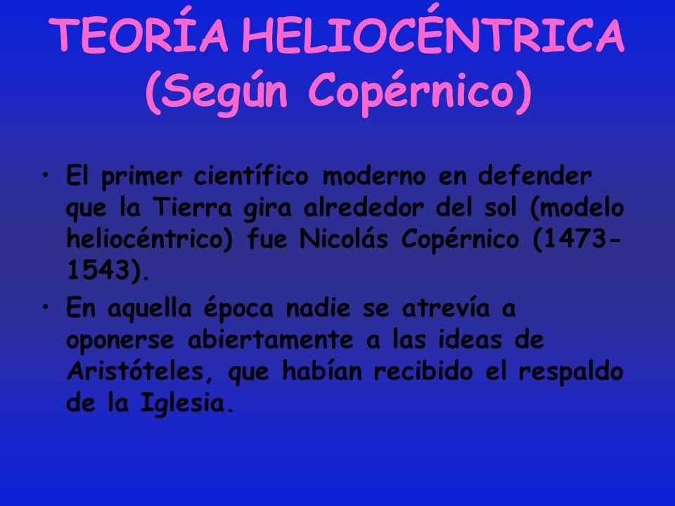 TEORÍA HELIOCÉNTRICA (Según Copérnico) El primer científico moderno en defender que la Tierra gira alrededor del sol (modelo heliocéntrico) fue Nicolá