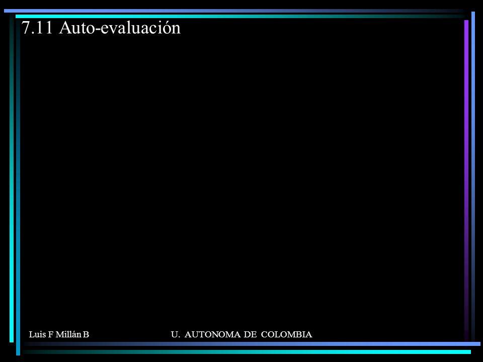 Luis F Millán BU. AUTONOMA DE COLOMBIA 7.11 Auto-evaluación