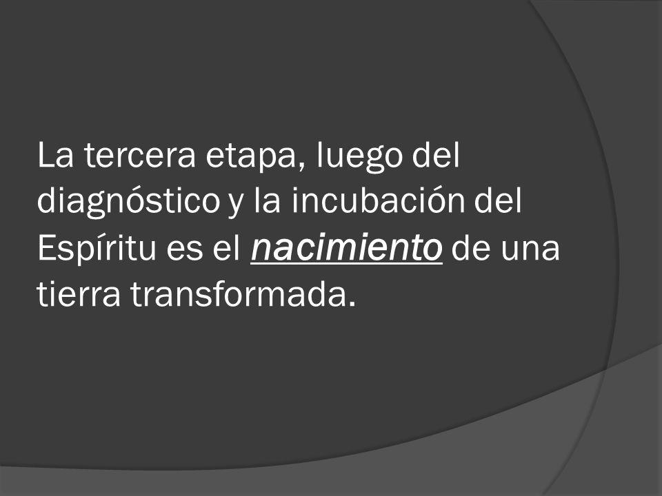 La tercera etapa, luego del diagnóstico y la incubación del Espíritu es el nacimiento de una tierra transformada.