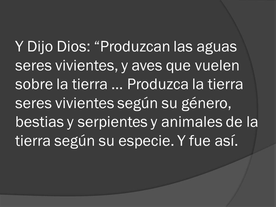 Y Dijo Dios: Produzcan las aguas seres vivientes, y aves que vuelen sobre la tierra … Produzca la tierra seres vivientes según su género, bestias y se