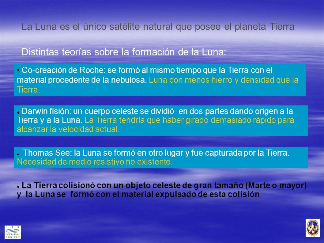 La Luna es el único satélite natural que posee el planeta Tierra Distintas teorías sobre la formación de la Luna: Darwin fisión: un cuerpo celeste se