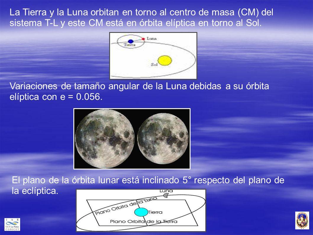 La Tierra y la Luna orbitan en torno al centro de masa (CM) del sistema T-L y este CM está en órbita elíptica en torno al Sol. Variaciones de tamaño a