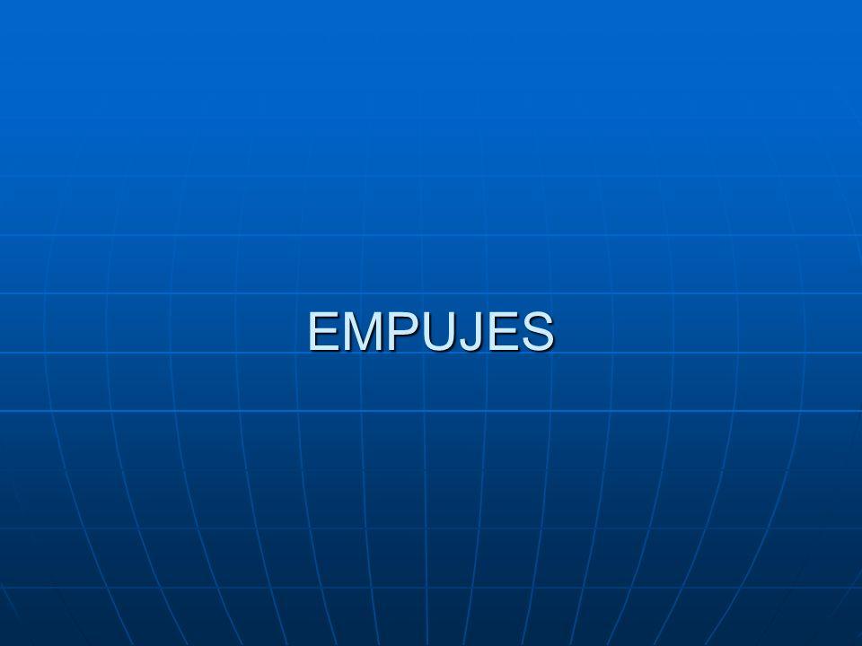 EMPUJE DE REPOSO EQUILIBRIO ESTÁTICO Es el empuje que se da normalmente en los muros que tienen anclajes o tienen coartado su movimiento en coronación (muros de sótano).