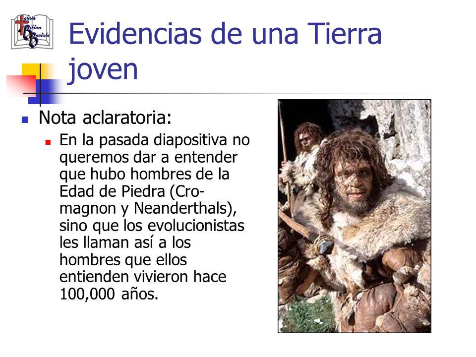 Evidencias de una Tierra joven Nota aclaratoria: En la pasada diapositiva no queremos dar a entender que hubo hombres de la Edad de Piedra (Cro- magno