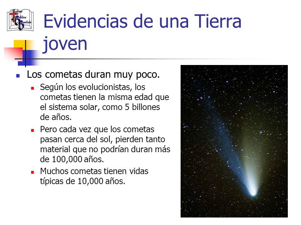 Evidencias de una Tierra joven Los cometas duran muy poco. Según los evolucionistas, los cometas tienen la misma edad que el sistema solar, como 5 bil