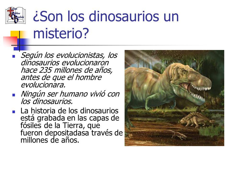 ¿Son los dinosaurios un misterio? Según los evolucionistas, los dinosaurios evolucionaron hace 235 millones de años, antes de que el hombre evoluciona