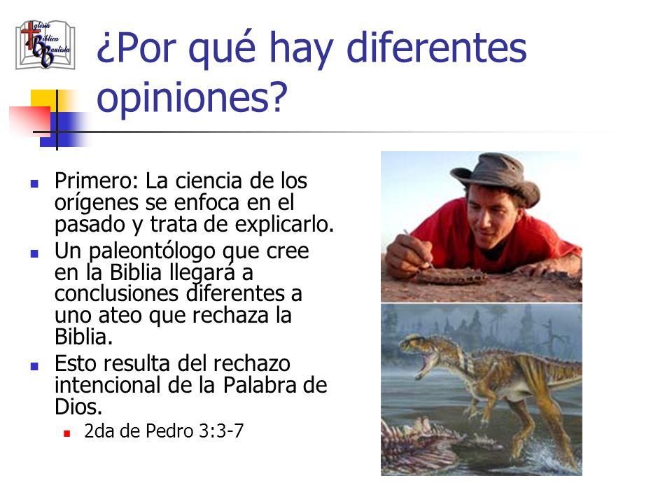 ¿Por qué hay diferentes opiniones? Primero: La ciencia de los orígenes se enfoca en el pasado y trata de explicarlo. Un paleontólogo que cree en la Bi