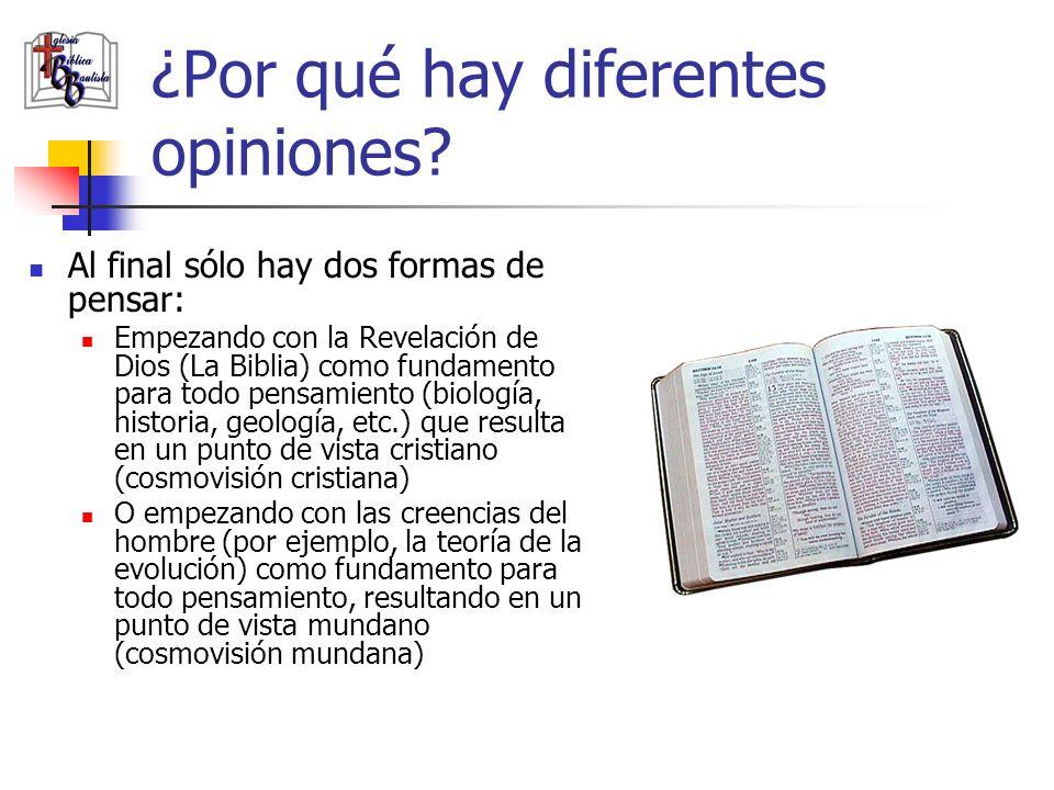 ¿Por qué hay diferentes opiniones? Al final sólo hay dos formas de pensar: Empezando con la Revelación de Dios (La Biblia) como fundamento para todo p