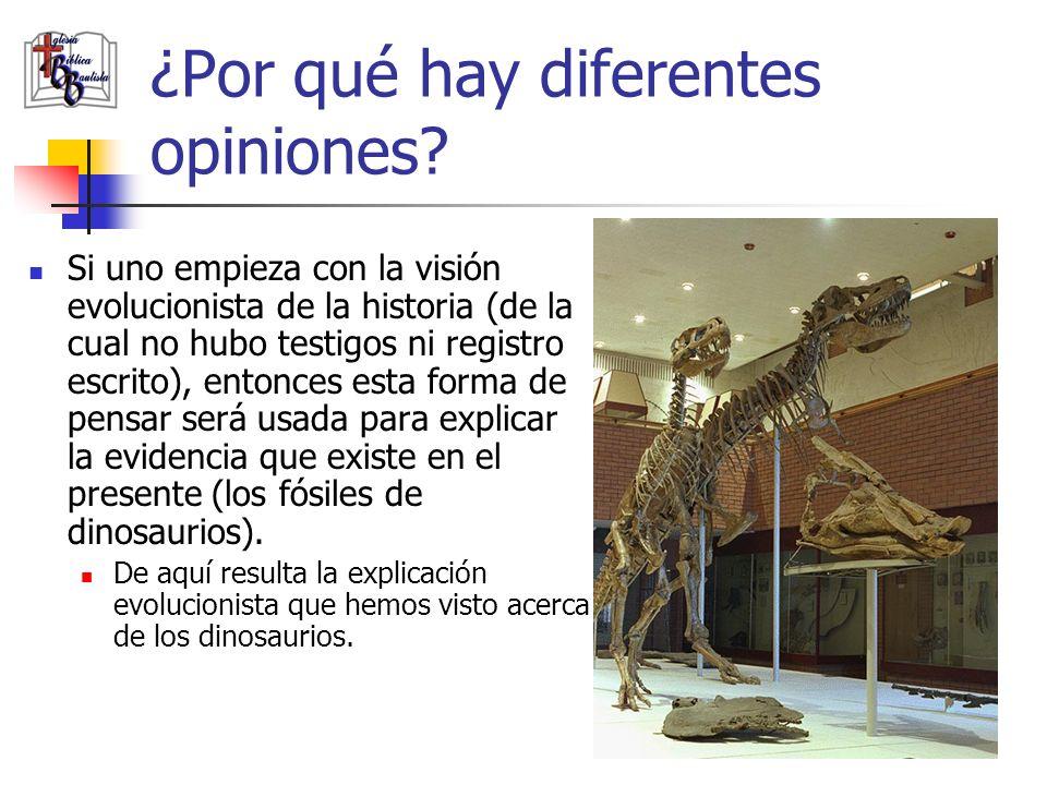 ¿Por qué hay diferentes opiniones? Si uno empieza con la visión evolucionista de la historia (de la cual no hubo testigos ni registro escrito), entonc