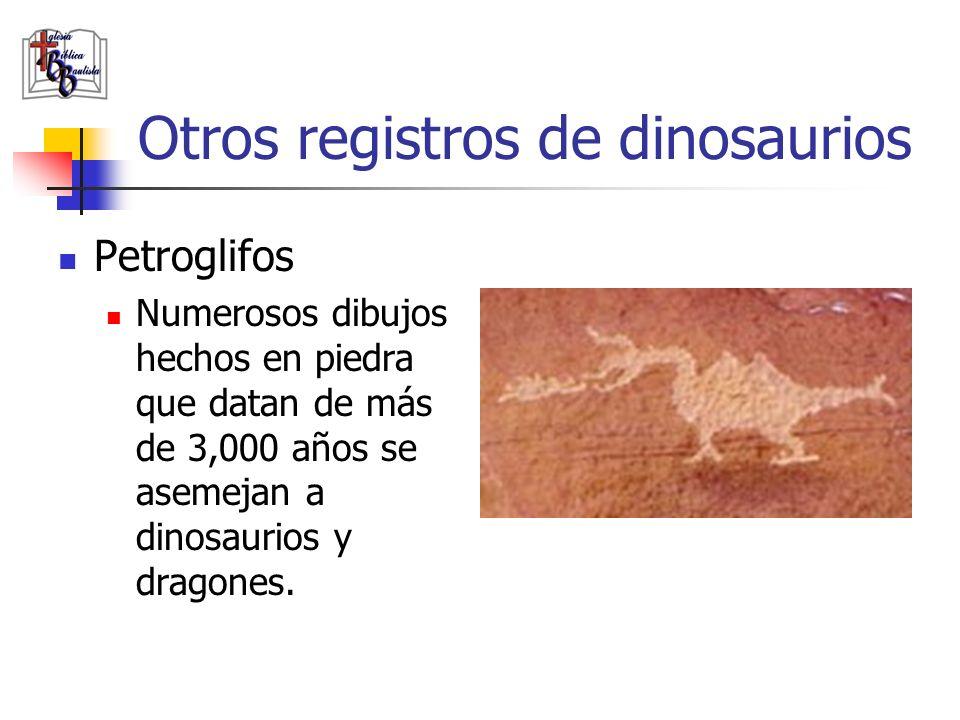 Otros registros de dinosaurios Petroglifos Numerosos dibujos hechos en piedra que datan de más de 3,000 años se asemejan a dinosaurios y dragones.