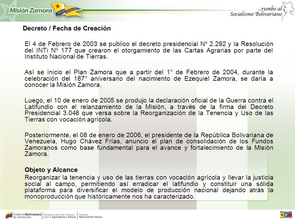 Decreto / Fecha de Creación Decreto / Fecha de Creación El 4 de Febrero de 2003 se publico el decreto presidencial Nº 2.292 y la Resolución del INTi N
