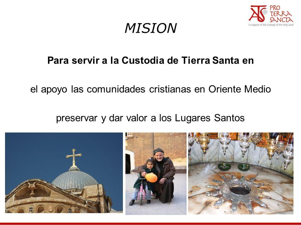 MISION Para servir a la Custodia de Tierra Santa en el apoyo las comunidades cristianas en Oriente Medio preservar y dar valor a los Lugares Santos