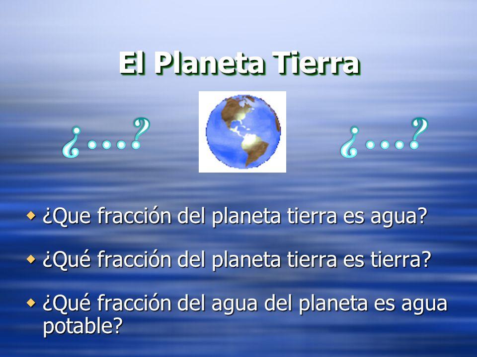 El Planeta Tierra ¿Que fracción del planeta tierra es agua? ¿Que fracción del planeta tierra es agua? ¿Qué fracción del planeta tierra es tierra? ¿Qué