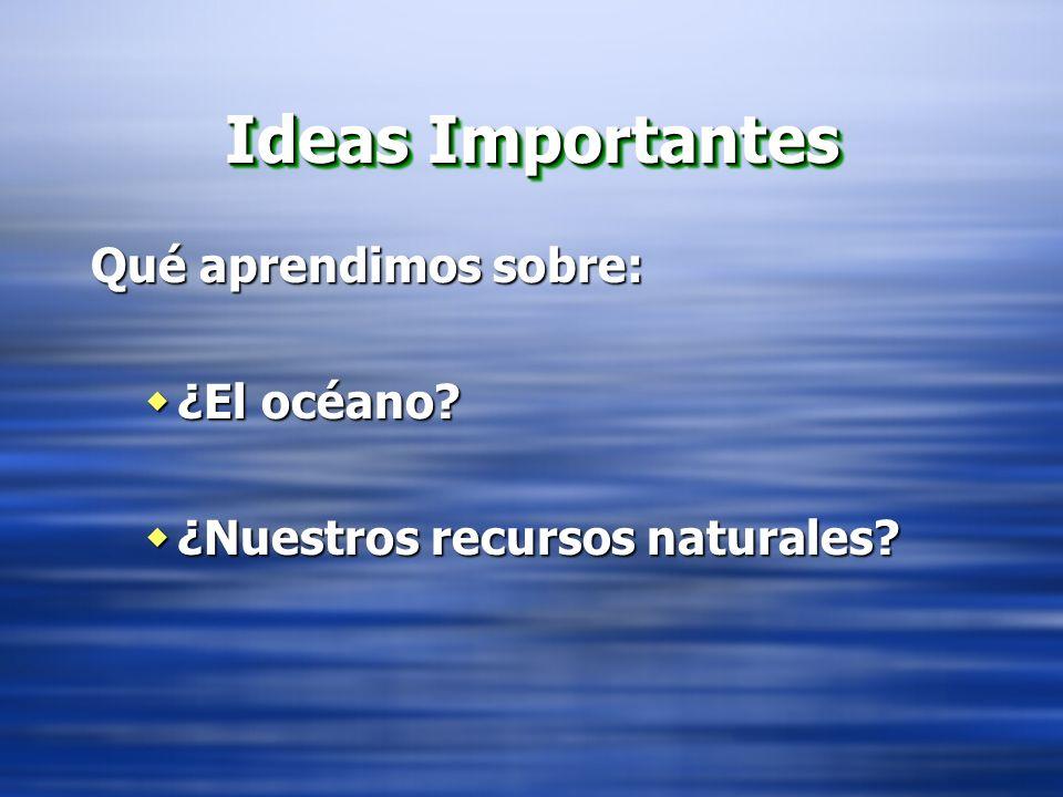 Ideas Importantes Qué aprendimos sobre: ¿El océano? ¿El océano? ¿Nuestros recursos naturales? ¿Nuestros recursos naturales? Qué aprendimos sobre: ¿El