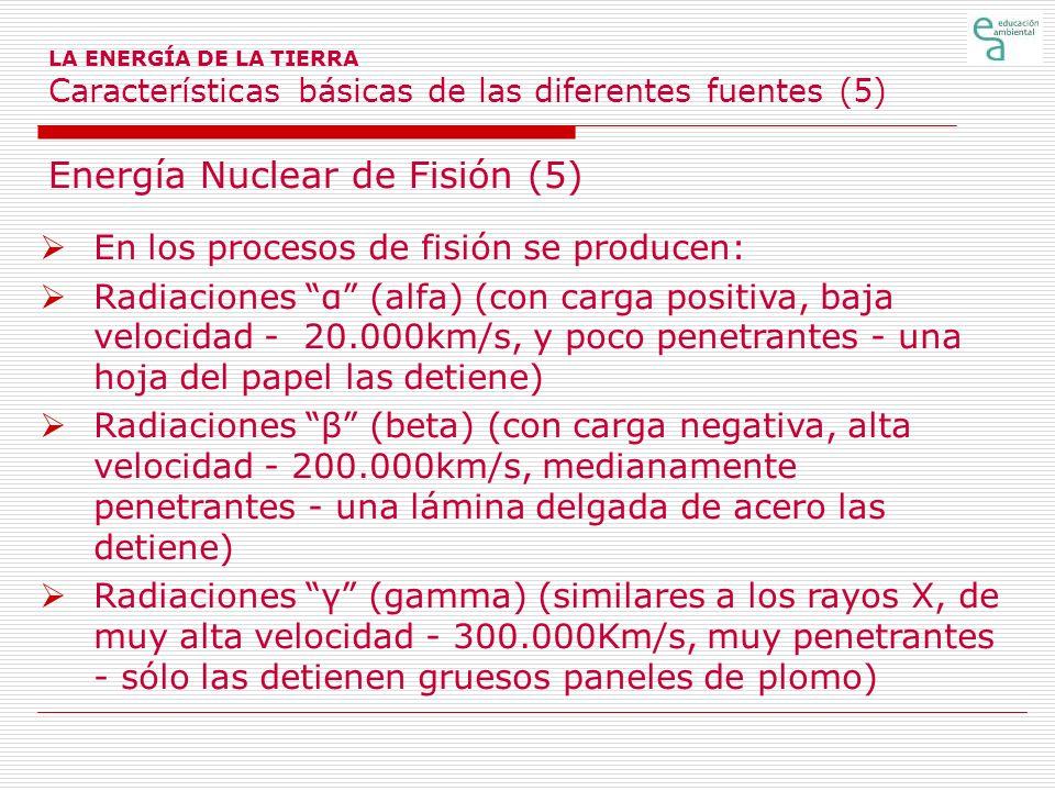 Energía Nuclear de Fisión (5) En los procesos de fisión se producen: Radiaciones α (alfa) (con carga positiva, baja velocidad - 20.000km/s, y poco pen