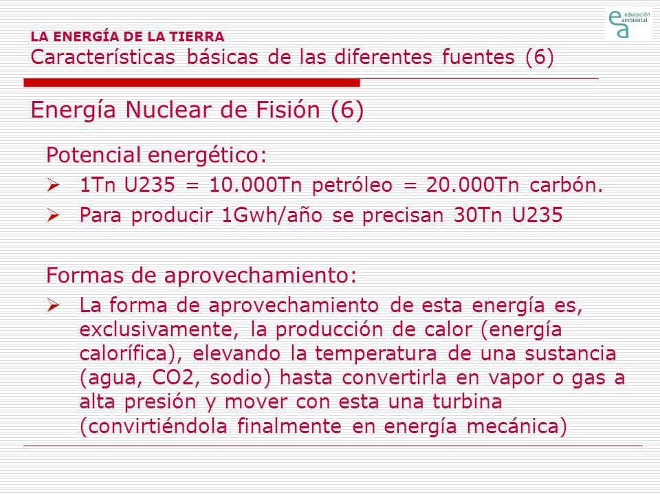 Energía Nuclear de Fisión (6) Potencial energético: 1Tn U235 = 10.000Tn petróleo = 20.000Tn carbón. Para producir 1Gwh/año se precisan 30Tn U235 Forma