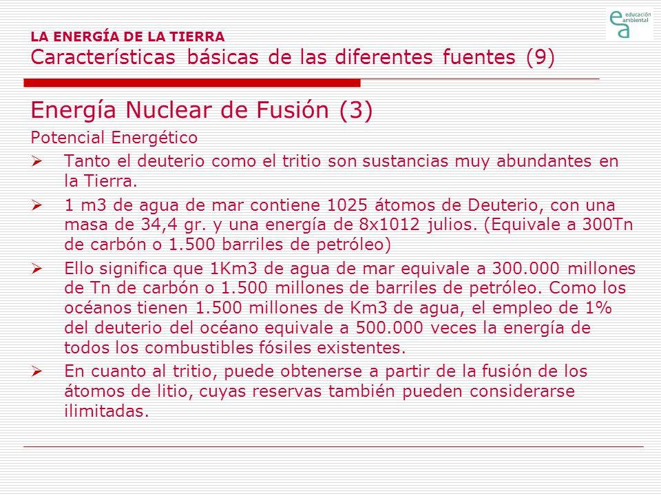 LA ENERGÍA DE LA TIERRA Características básicas de las diferentes fuentes (9) Energía Nuclear de Fusión (3) Potencial Energético Tanto el deuterio com