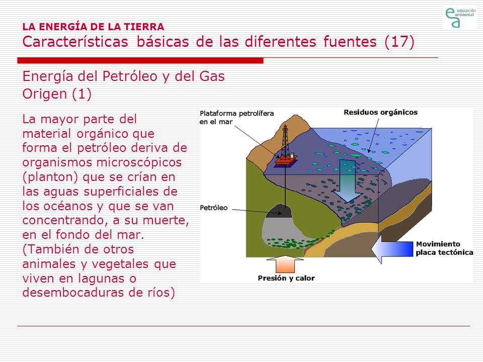 LA ENERGÍA DE LA TIERRA Características básicas de las diferentes fuentes (17) Energía del Petróleo y del Gas Origen (1) La mayor parte del material o