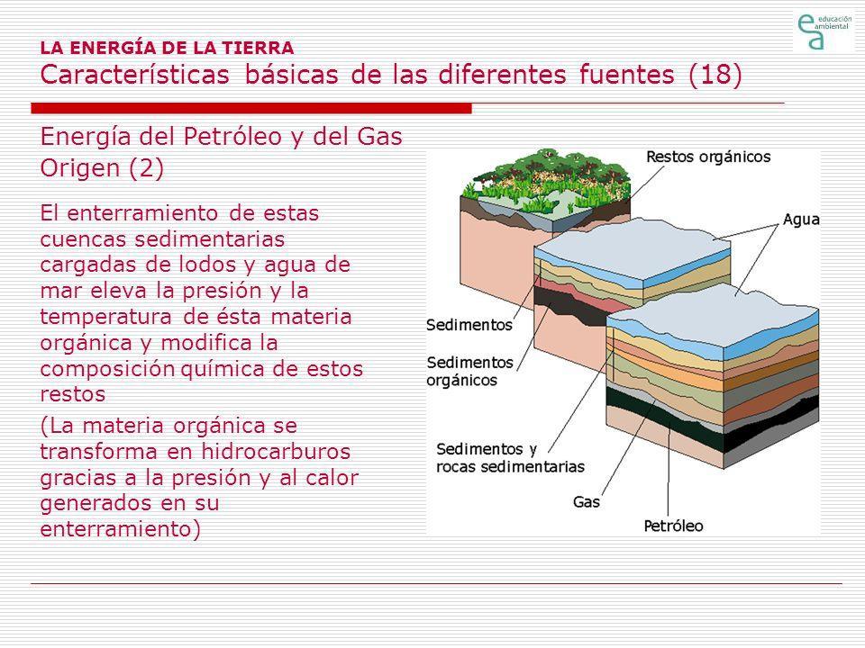 LA ENERGÍA DE LA TIERRA Características básicas de las diferentes fuentes (18) Energía del Petróleo y del Gas Origen (2) El enterramiento de estas cue