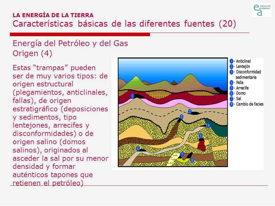 LA ENERGÍA DE LA TIERRA Características básicas de las diferentes fuentes (20) Energía del Petróleo y del Gas Origen (4) Estas trampas pueden ser de m