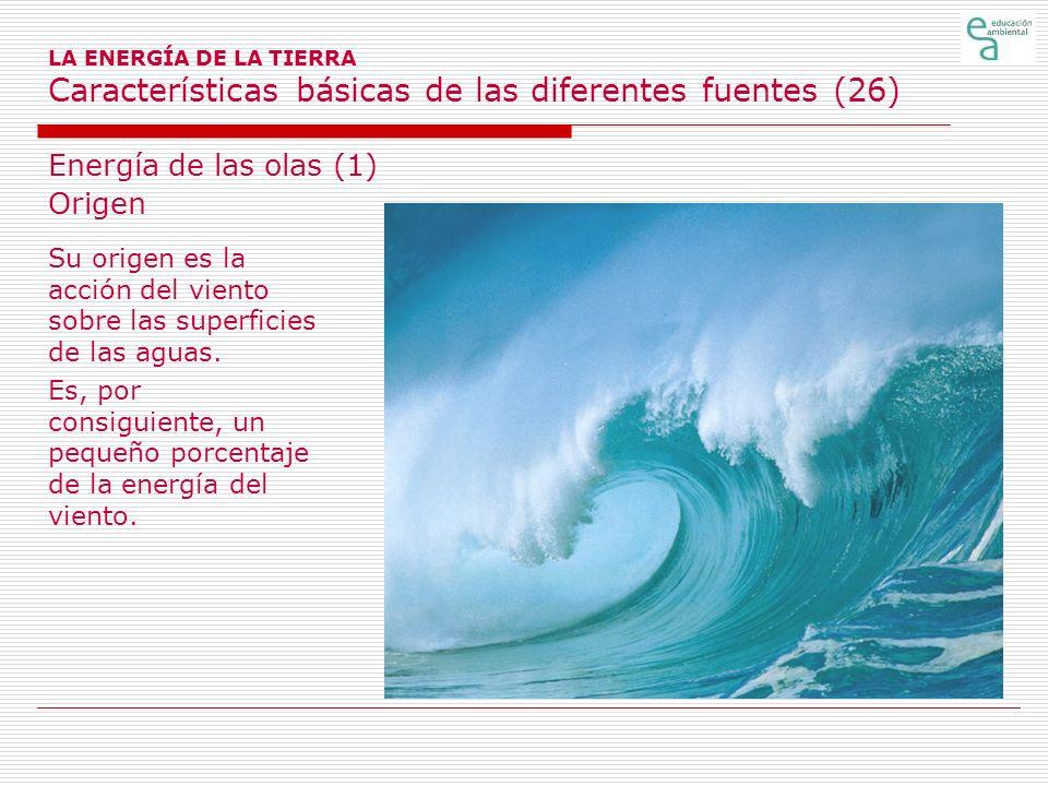 LA ENERGÍA DE LA TIERRA Características básicas de las diferentes fuentes (26) Energía de las olas (1) Origen Su origen es la acción del viento sobre
