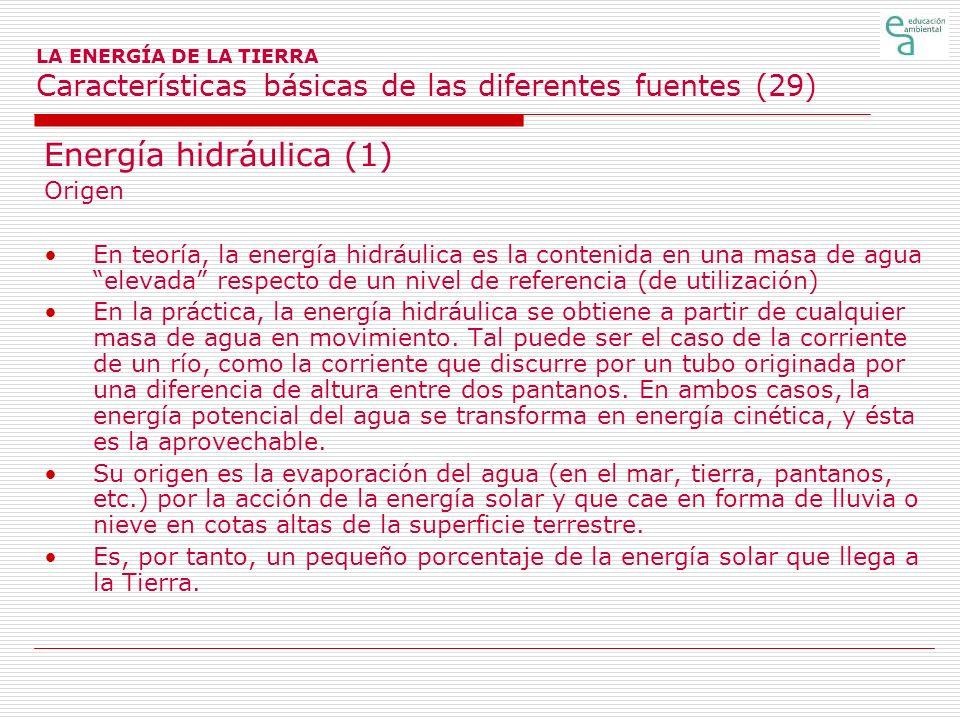 LA ENERGÍA DE LA TIERRA Características básicas de las diferentes fuentes (29) Energía hidráulica (1) Origen En teoría, la energía hidráulica es la co
