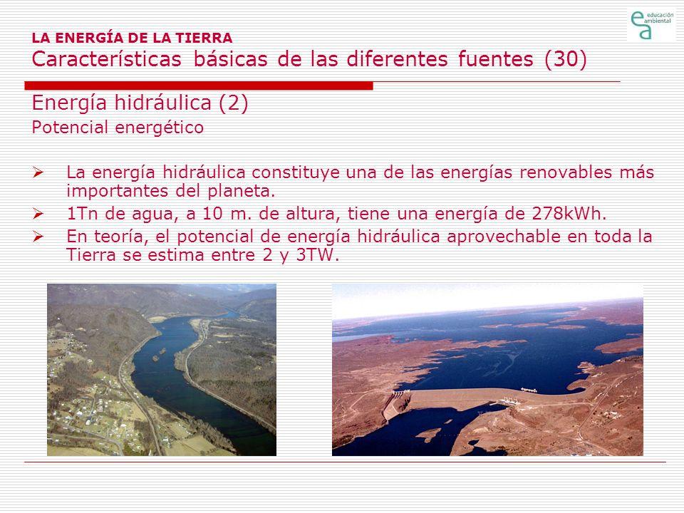 LA ENERGÍA DE LA TIERRA Características básicas de las diferentes fuentes (30) Energía hidráulica (2) Potencial energético La energía hidráulica const