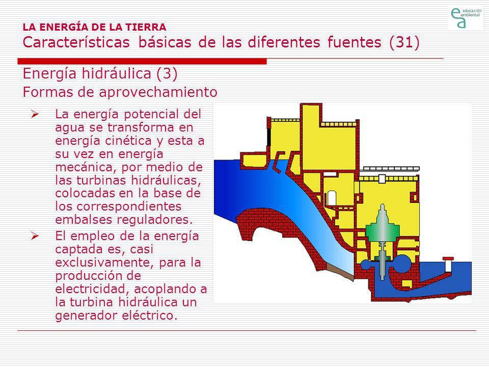 LA ENERGÍA DE LA TIERRA Características básicas de las diferentes fuentes (31) Energía hidráulica (3) Formas de aprovechamiento La energía potencial d