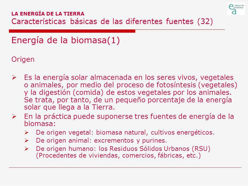 LA ENERGÍA DE LA TIERRA Características básicas de las diferentes fuentes (32) Energía de la biomasa(1) Origen Es la energía solar almacenada en los s