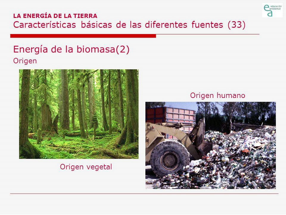 LA ENERGÍA DE LA TIERRA Características básicas de las diferentes fuentes (33) Energía de la biomasa(2) Origen Origen humano Origen vegetal