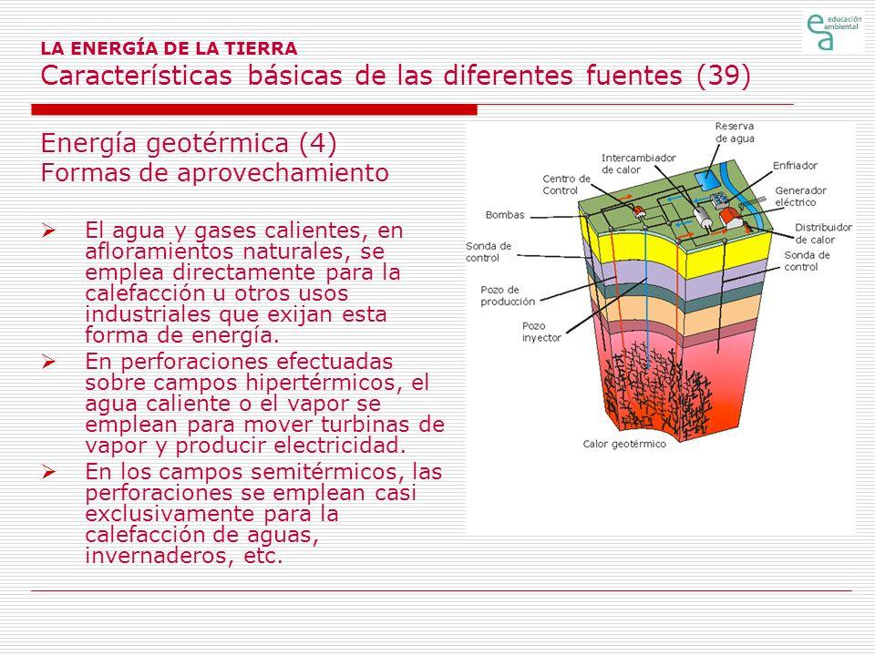 LA ENERGÍA DE LA TIERRA Características básicas de las diferentes fuentes (39) Energía geotérmica (4) Formas de aprovechamiento El agua y gases calien