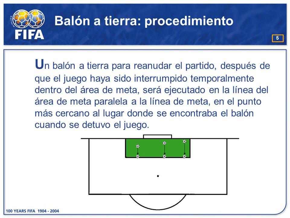 5 Balón a tierra: procedimiento U n balón a tierra para reanudar el partido, después de que el juego haya sido interrumpido temporalmente dentro del área de meta, será ejecutado en la línea del área de meta paralela a la línea de meta, en el punto más cercano al lugar donde se encontraba el balón cuando se detuvo el juego.
