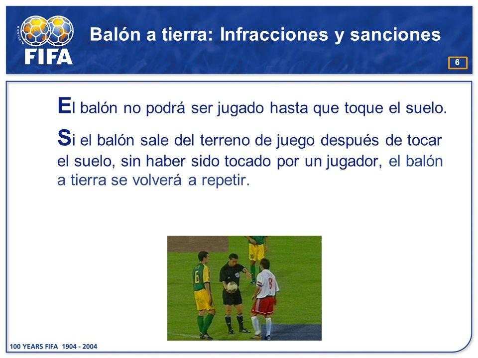 6 Balón a tierra: Infracciones y sanciones E l balón no podrá ser jugado hasta que toque el suelo. S i el balón sale del terreno de juego después de t