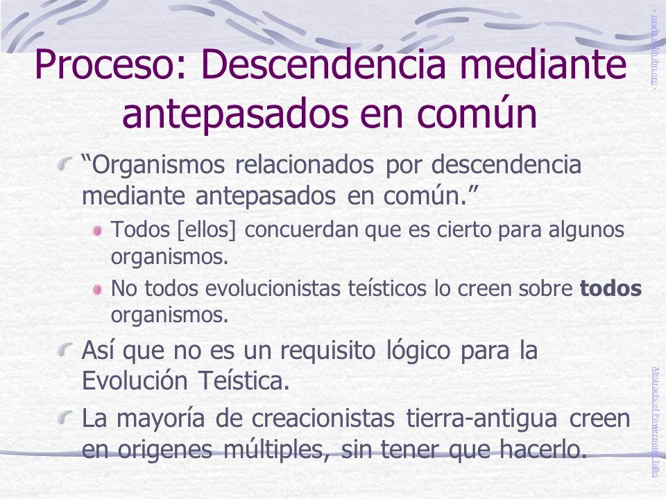 Proceso: Descendencia mediante antepasados en común Organismos relacionados por descendencia mediante antepasados en común. Todos [ellos] concuerdan q